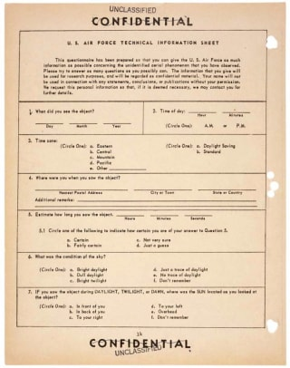 Seen a UFO ? In the '50s, You Could Report It In This Easy Questionnaire