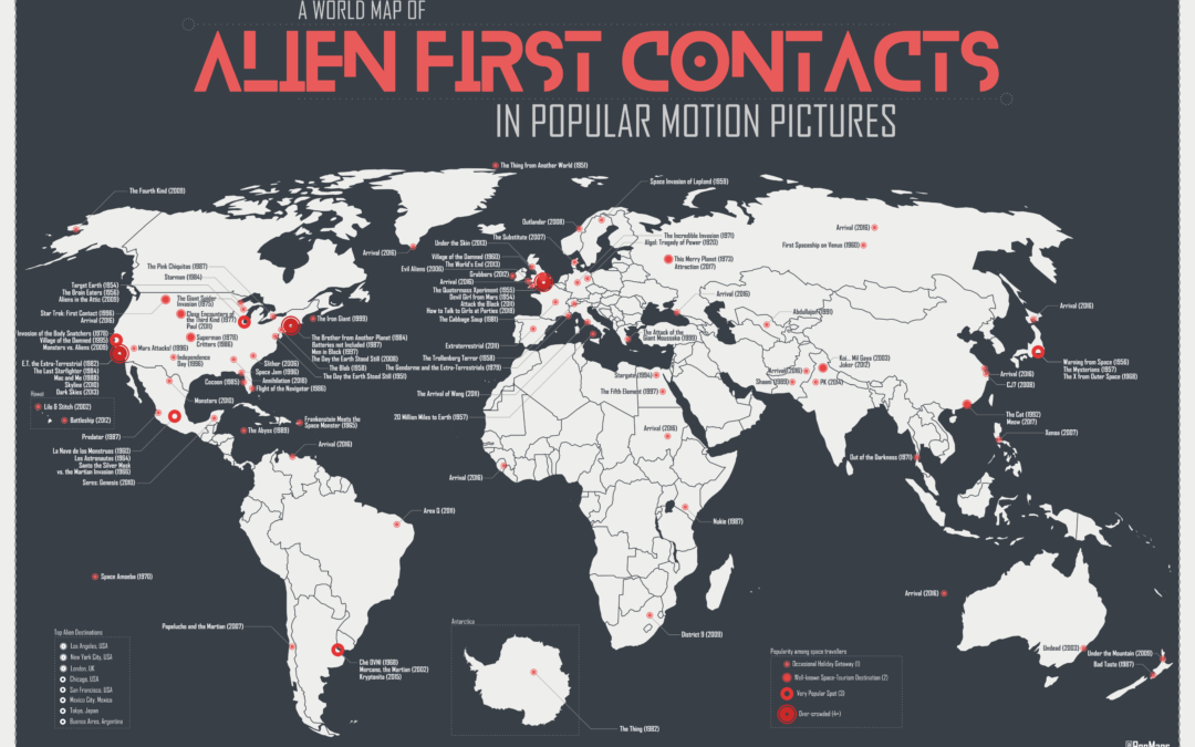 A century of alien landings (in movies), in two maps